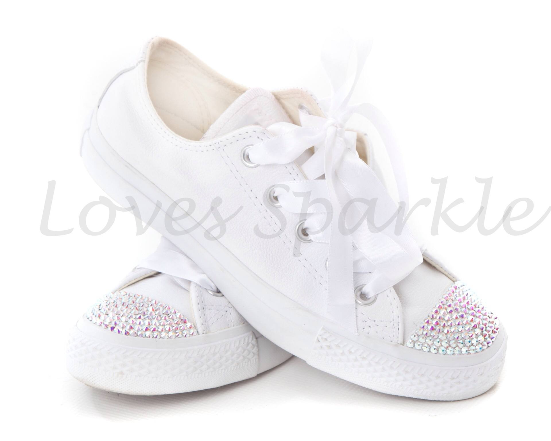 b8f26575e WHITE LEATHER SWAROVSKI CRYSTAL CONVERSE (LOW OR HIGHTOP) | Loves ...