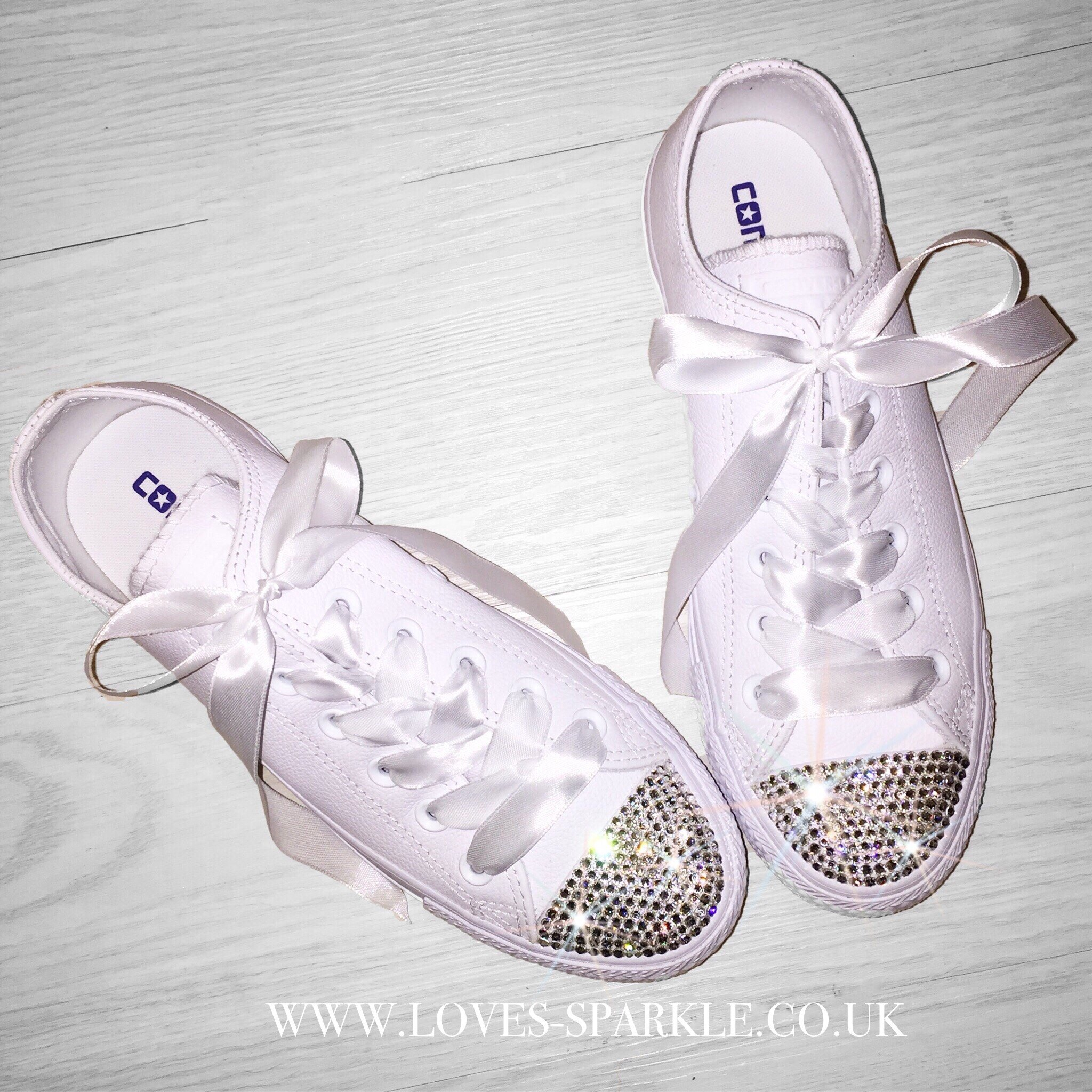 b90e30ca445 £95.00 – £100.00. SKU  WHITE LEATHER SWAROVSKI CRYSTAL CONVERSE ...