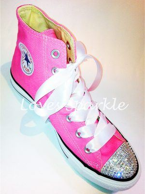 f063bde052e5 PINK SWAROVSKI CRYSTAL CANVAS CONVERSE (LOW OR HIGHTOP)