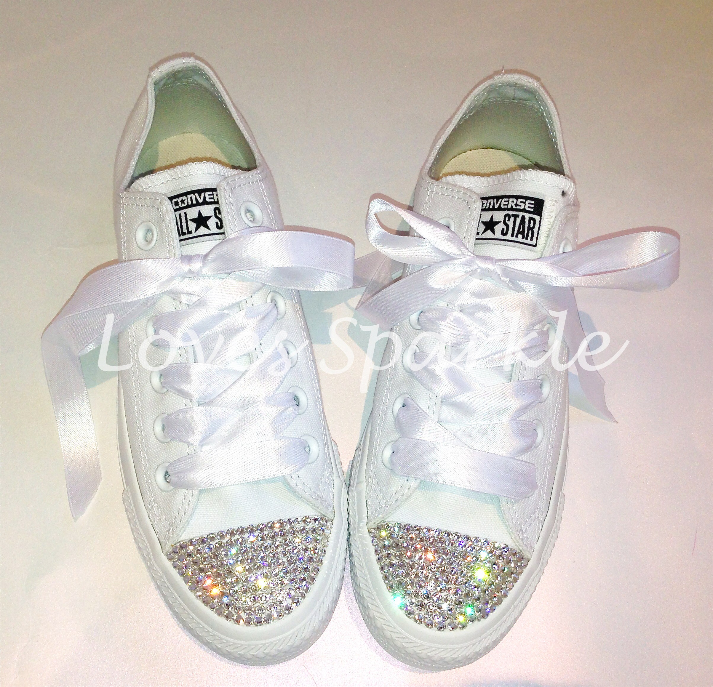 ad14c8b772cf15 EXCLUSIVE ALL WHITE SWAROVSKI CRYSTAL CANVAS CONVERSE (Low Or ...