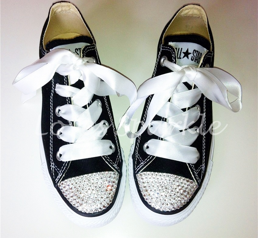 83460dd90 BLACK SWAROVSKI CRYSTAL CANVAS CONVERSE (LOW OR HIGHTOP) | Loves Sparkle