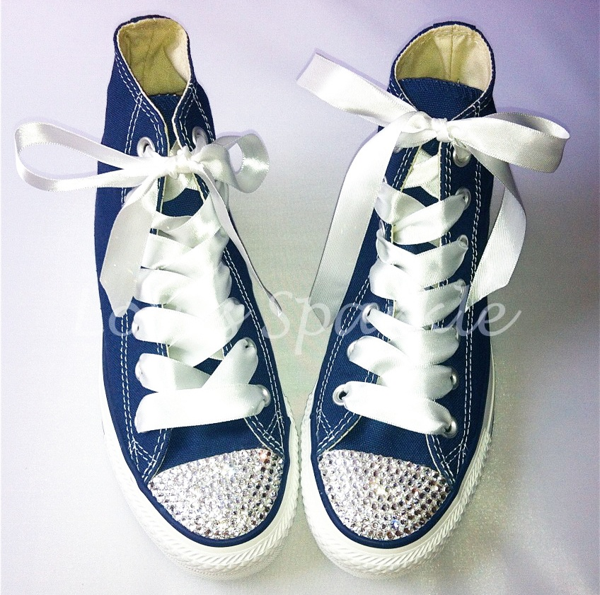 5965078c3c7c £82.00 – £87.00. SKU  NAVY SWAROVSKI CRYSTAL CANVAS CONVERSE (LOW OR HIGHTOP)  ...
